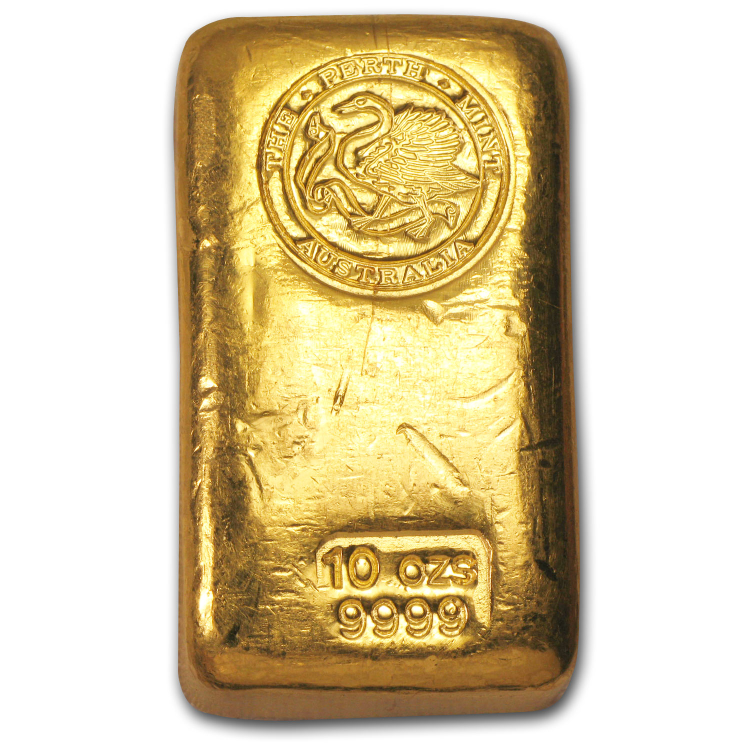 10 Oz Gold Bar Perth Mint Poured Old Style Swan