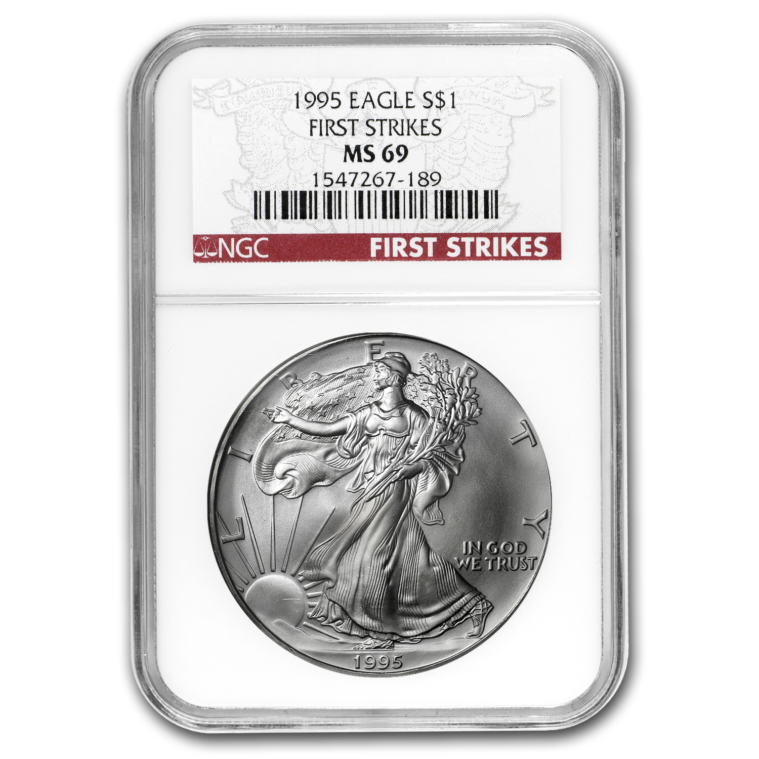 1995 Silver American Eagle MS-69 NGC (First Strike)