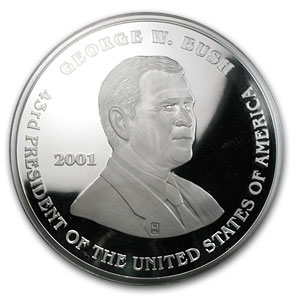 8 Oz Silver Round George Bush Al Gore 2001 8 Oz