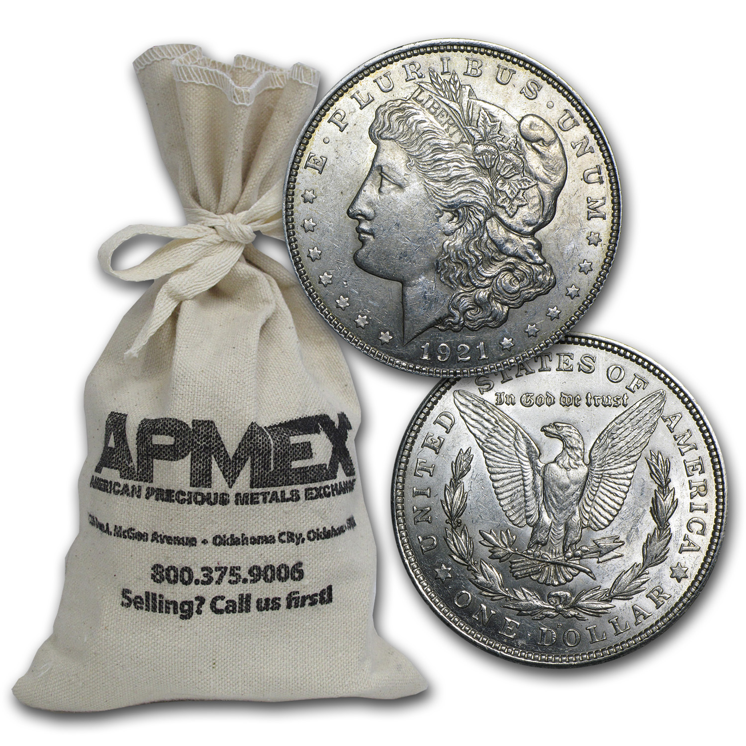 1921 P, D, or S Mint Morgan Dollar 100-Coin Bag AU