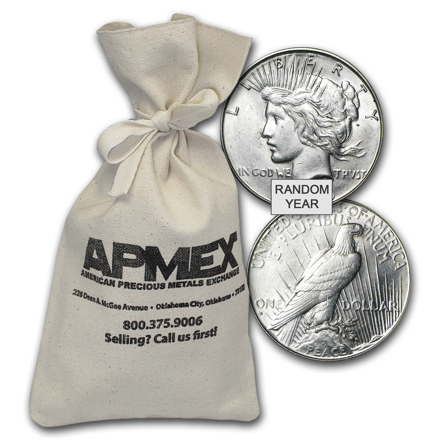 1922-1935 Peace Silver Dollars 100-Coin Bag AU