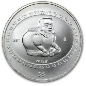 1997 Mexico 1 Oz Silver 5 Pesos Vasija 1 Oz Mexican