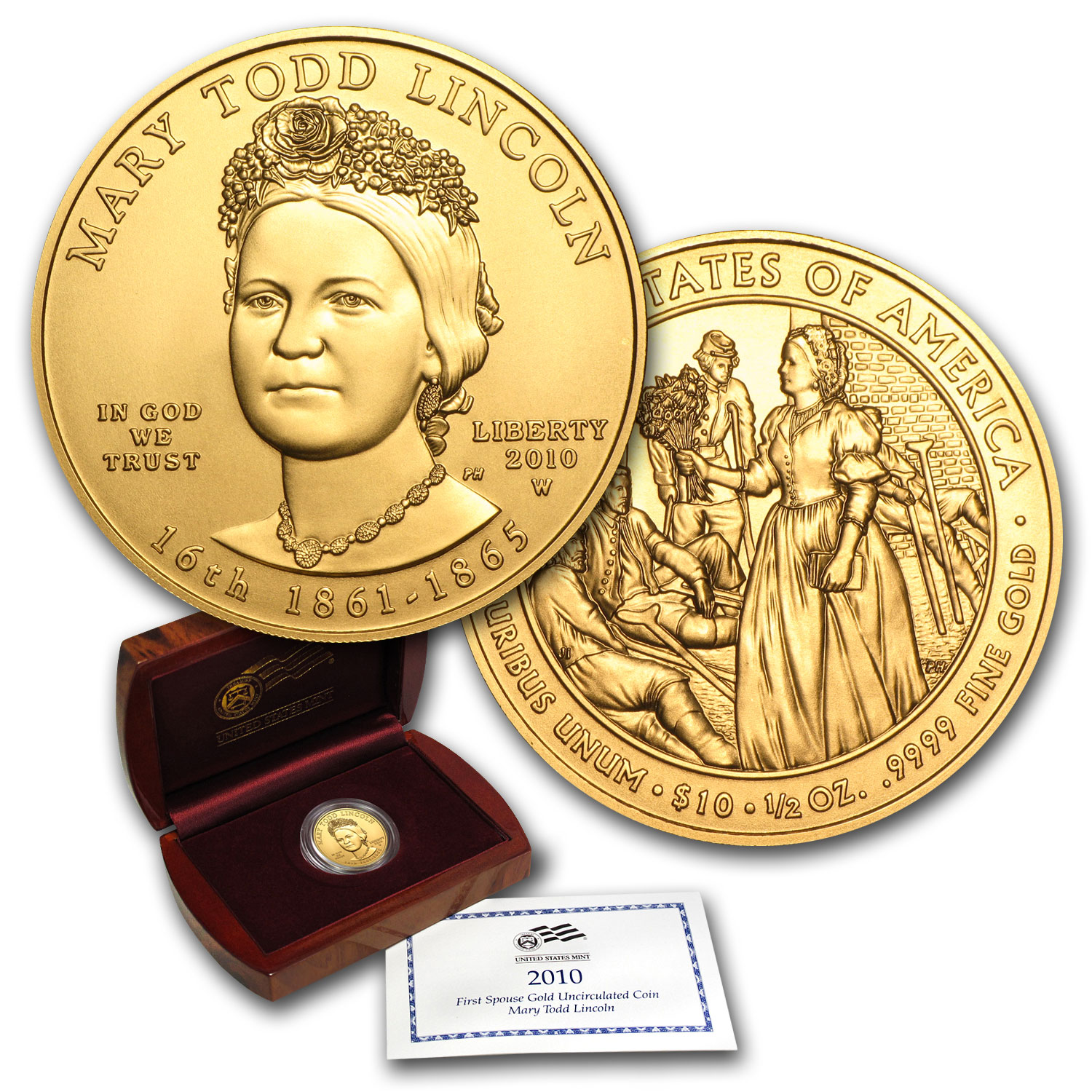 2010-W 1/2 oz Gold Mary Todd Lincoln BU (w/Box & COA)