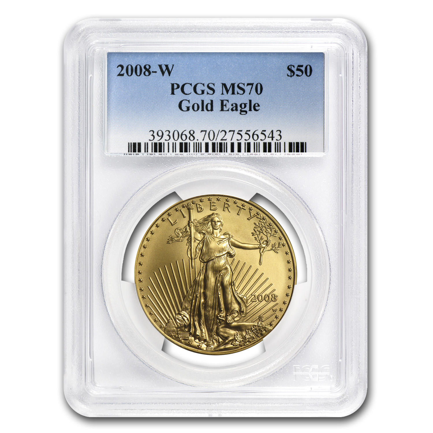 2008-W 1 oz Burnished Gold American Eagle MS-70 PCGS