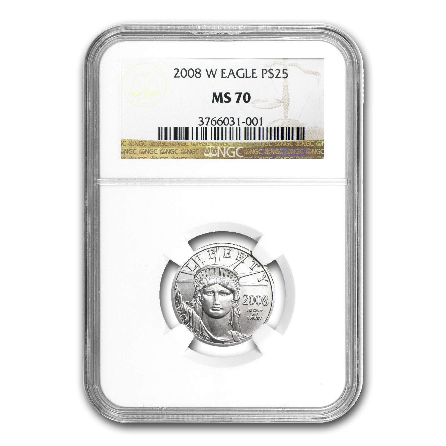 2008-W 1/4 oz Burnished Platinum American Eagle MS-70 NGC