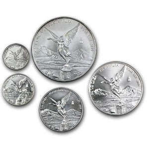 2002 Mexico 5-Coin Silver Libertad Set BU (1.9 oz)