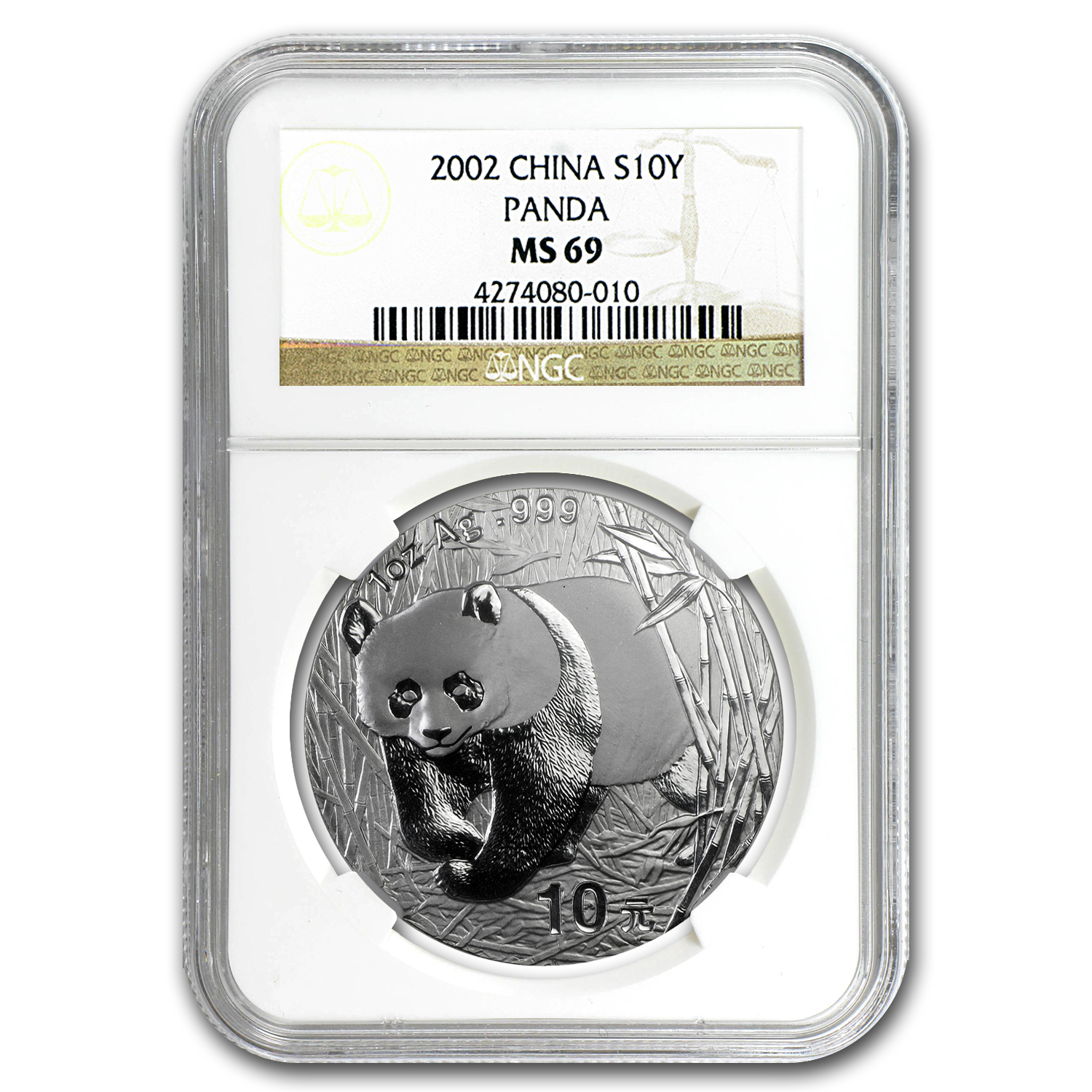 2002 1 oz Silver Chinese Panda MS-69 NGC