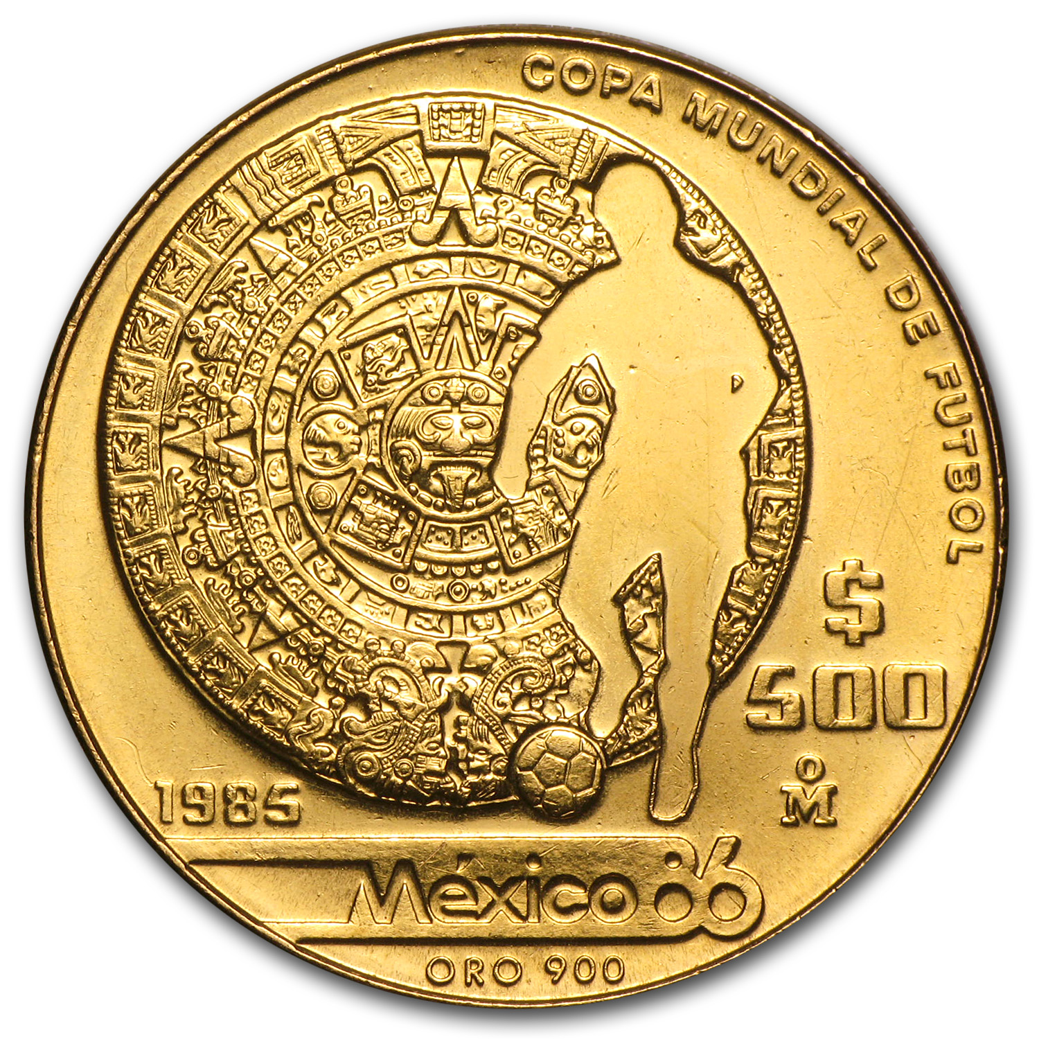 1985 or 1986 Mexico Gold 500 Pesos BU