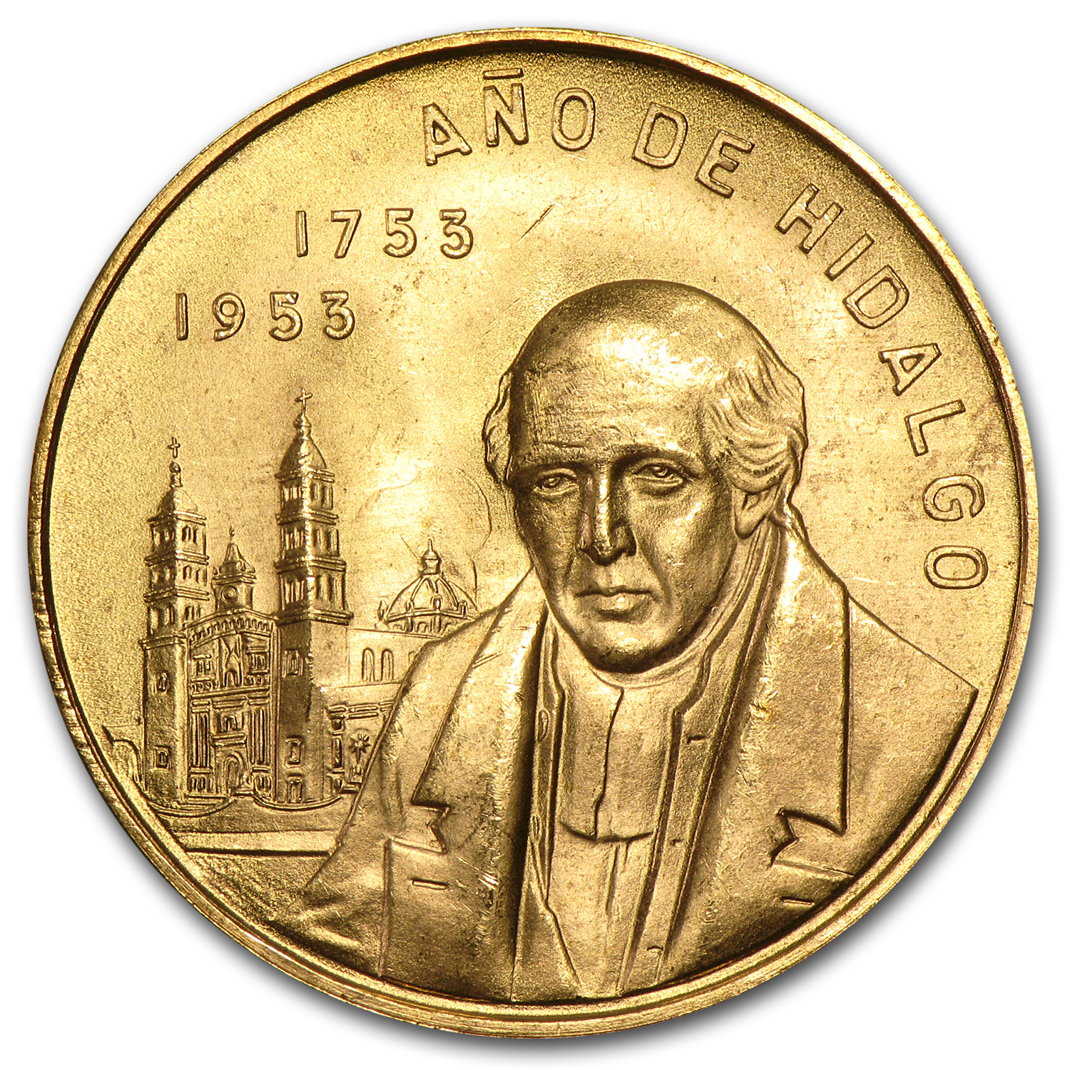 1953 Mexico Gold 200th Anniversary Birth of Hidalgo (.4823 AGW)
