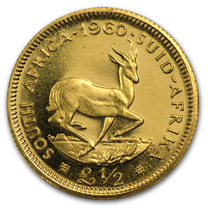 1959-1960 South Africa Gold 1/2 Pound BU (Random)