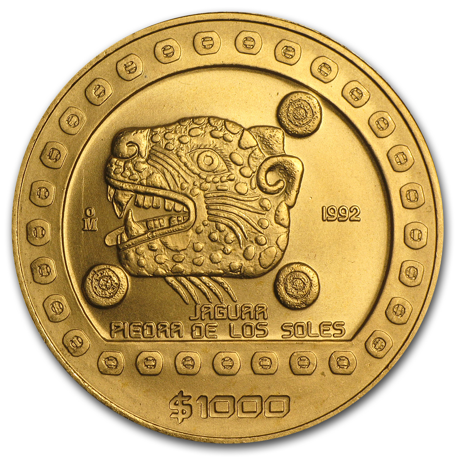 1992 Mexico 100 Pesos Gold Jaguar BU