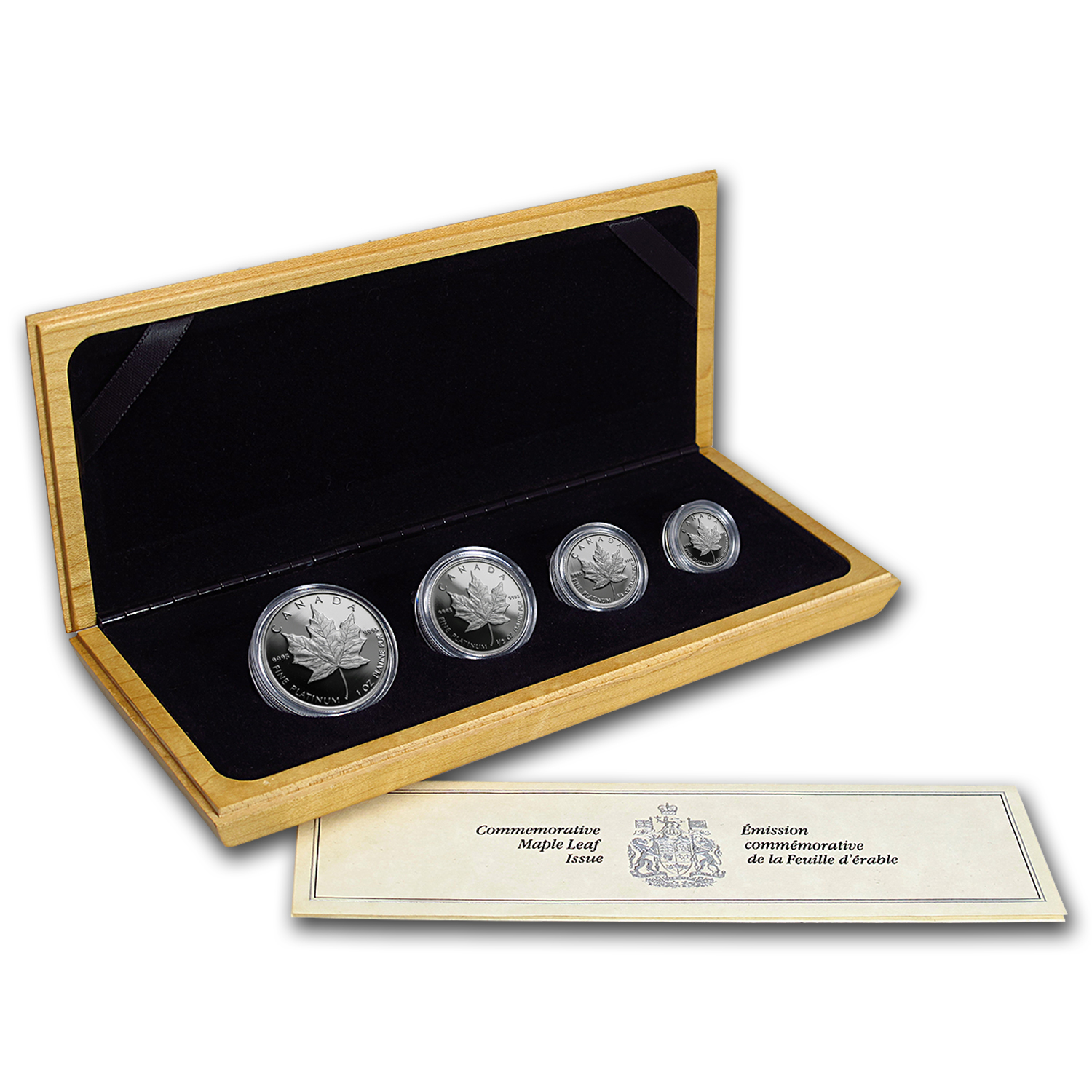 1989 Canada 4-Coin Platinum Maple Leaf Set (10th Ann, Box & COA)
