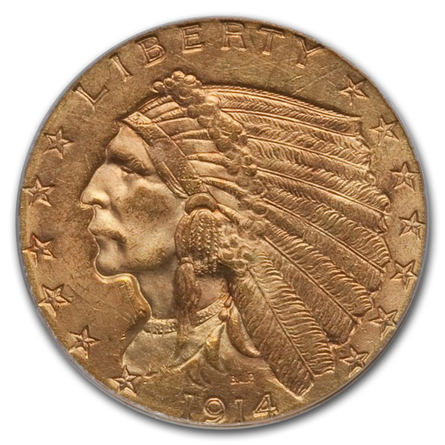 1914 $2.50 Indian Gold Quarter Eagle MS-63 PCGS