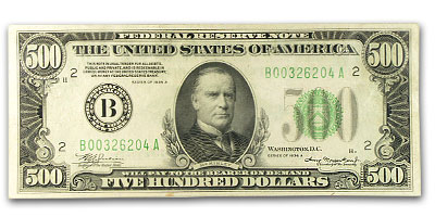 1934-A (B-New York) $500 FRN PCGS About New 53PPQ
