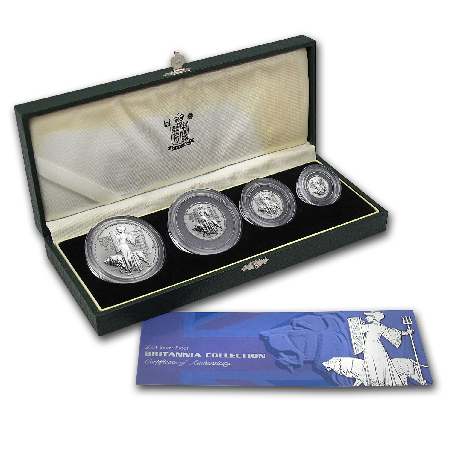 2001 GB 4-Coin Silver Britannia Proof Set (w/Box & COA)