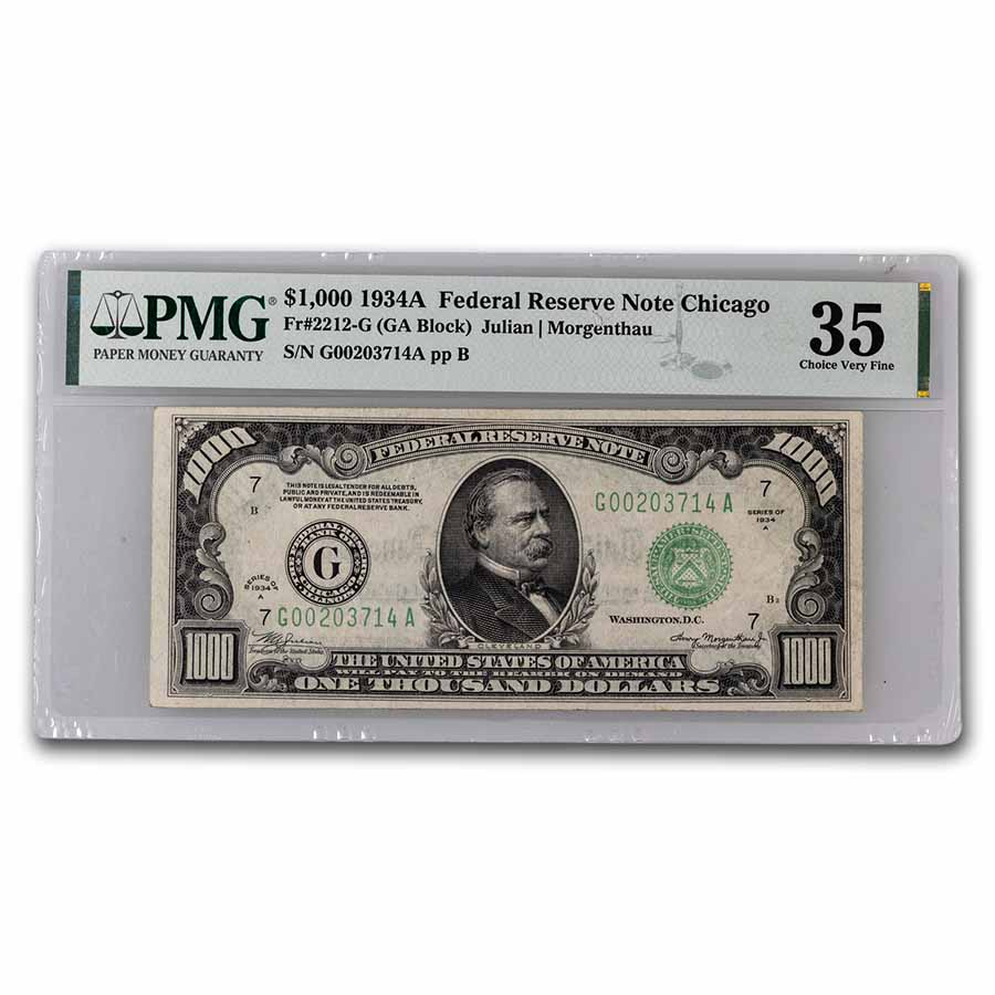 1934-A (G-Chicago) $1,000 FRN - Choice Very Fine 35 PMG