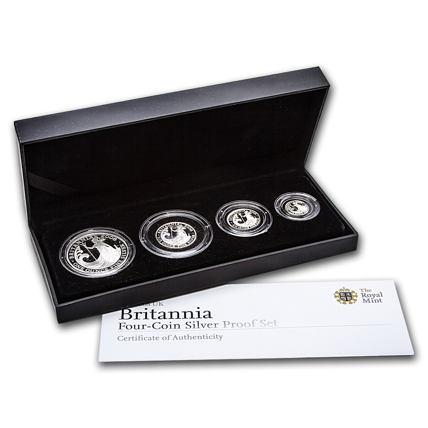 2008 Great Britain 4-Coin Silver Britannia Prf Set (w/Box & COA)