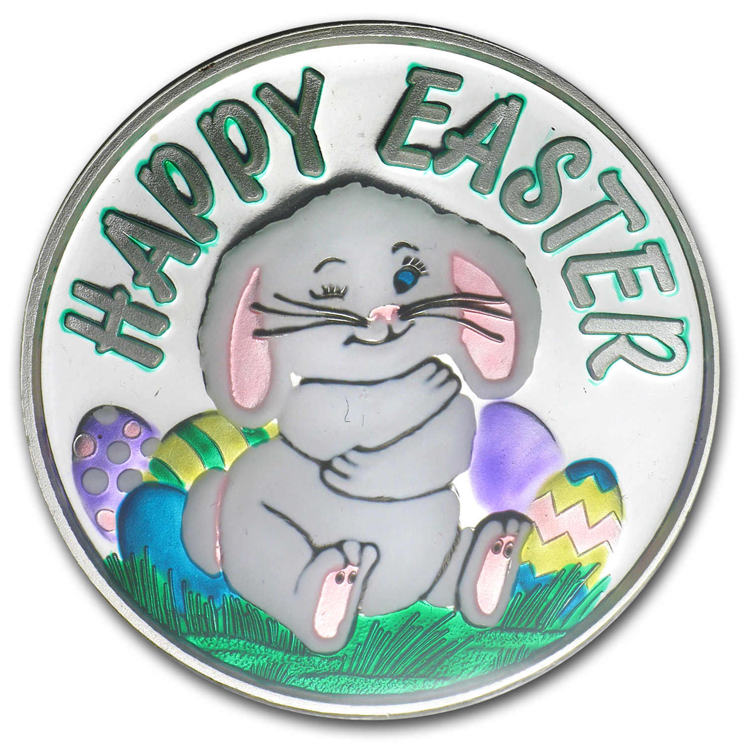 1 oz Silver Round - Happy Easter (Enameled, w/Box & Capsule)