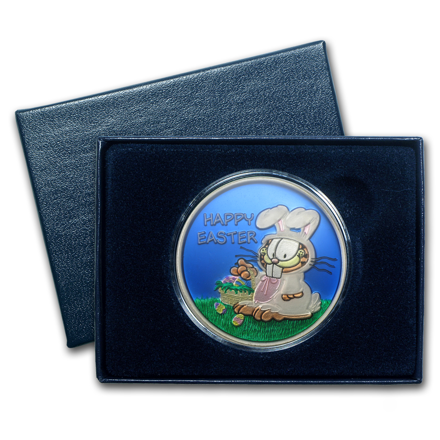 1 oz Garfield Easter Enameled Silver Round (w/Box & Capsule)