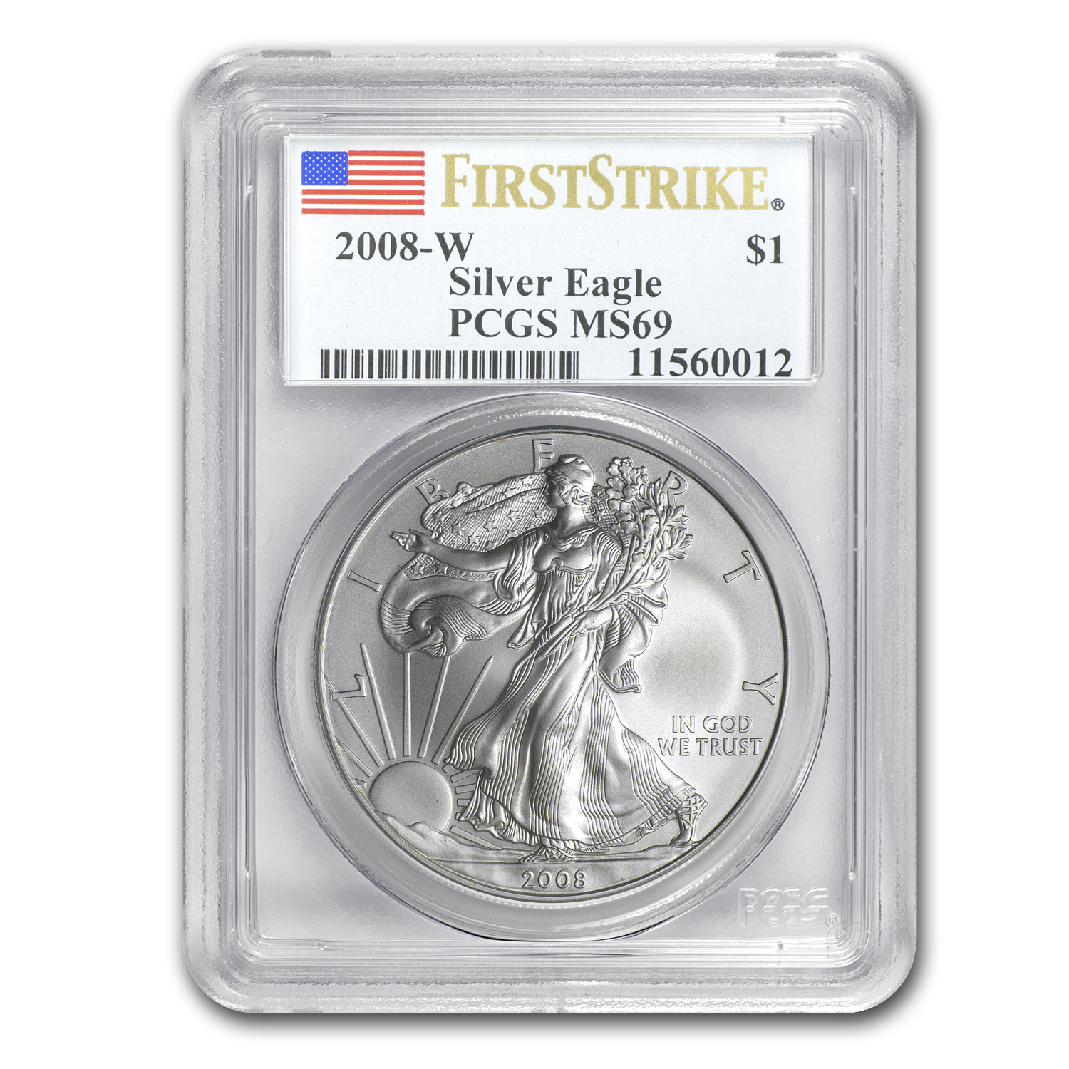 2008-W (Burnished) Silver American Eagle MS-69 PCGS (FS)