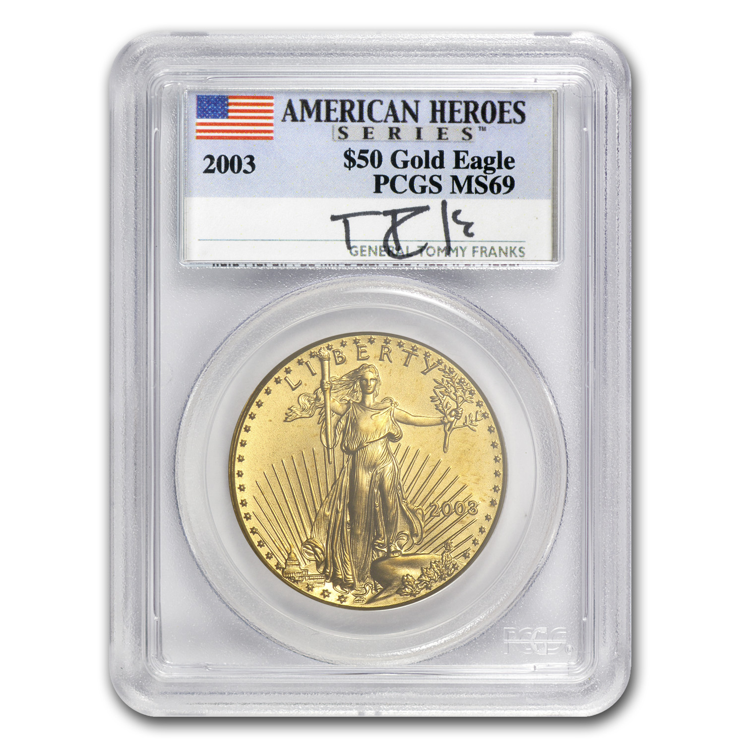 2003 5-Coin Gold & Silver Eagle Set MS-69 PCGS (Tommy Franks)