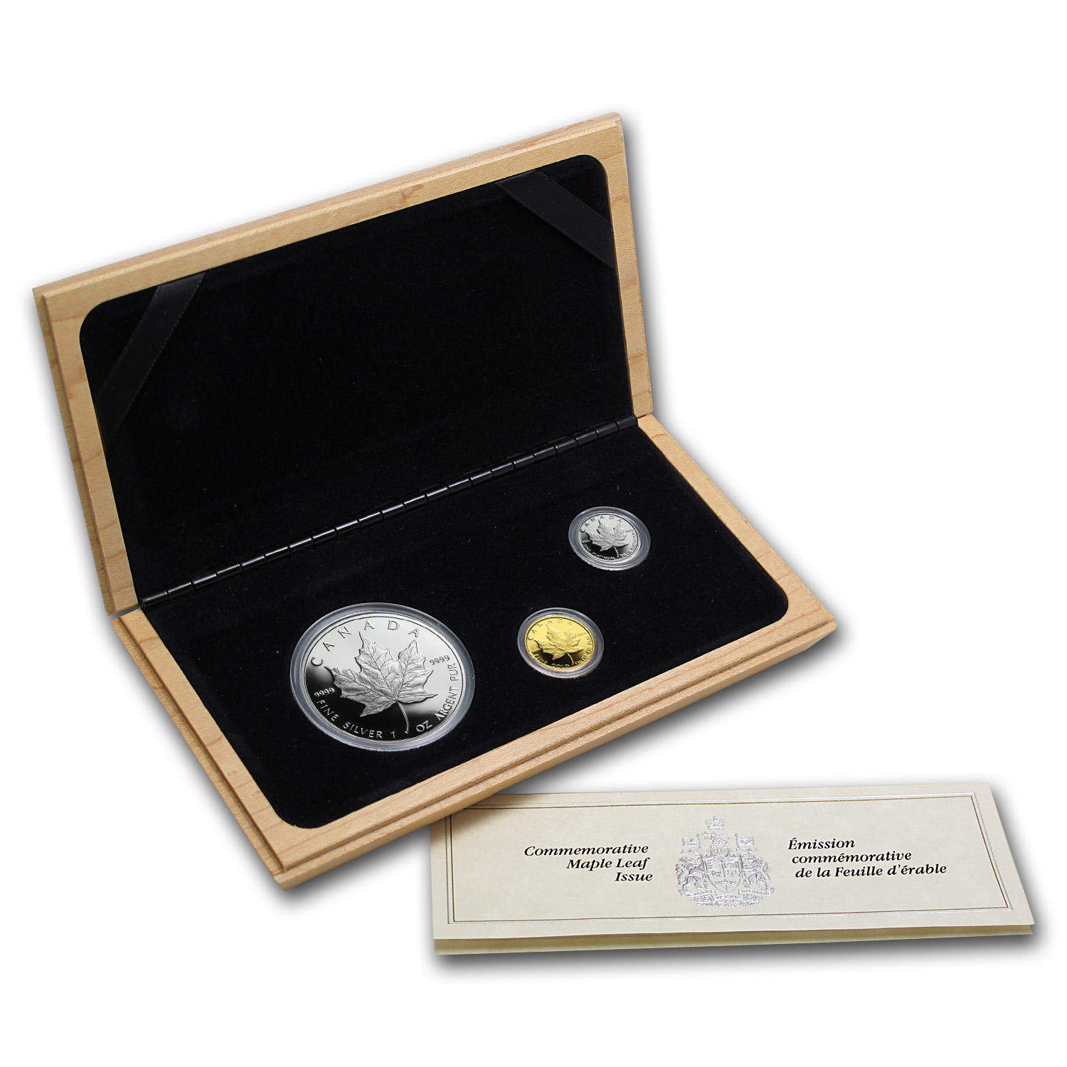1989 Canada 3-Coin Platinum, Gold & Silver Maple Leaf Proof Set