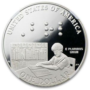 2009-P Louis Braille $1 Silver Commem PF-69 NGC