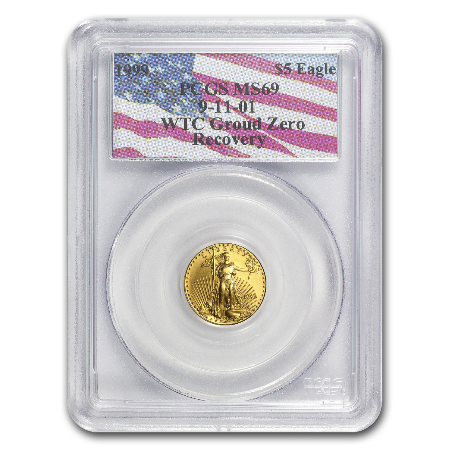 1999 1/10 oz Gold American Eagle MS-69 PCGS (World Trade Center)