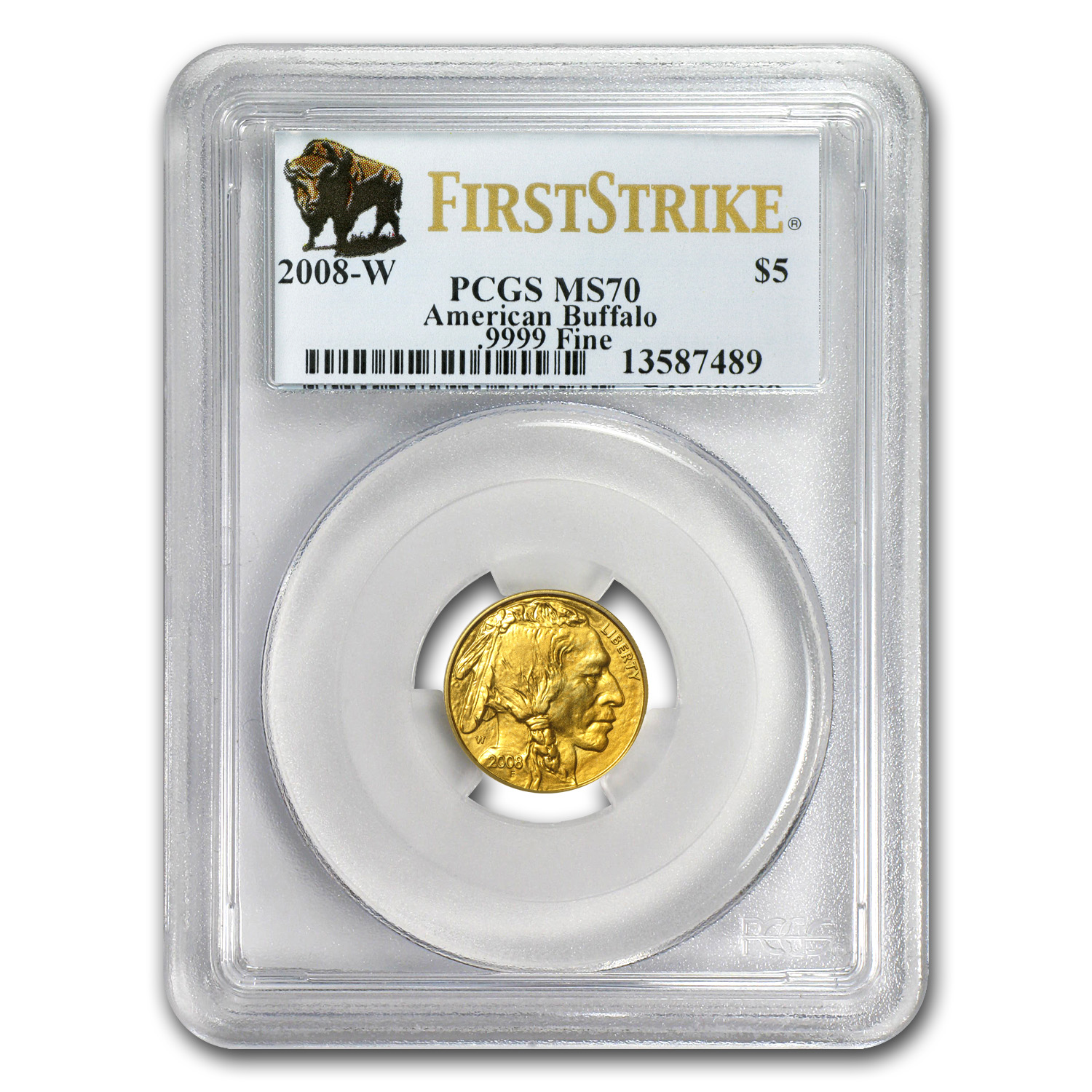 2008-W 1/10 oz Gold Buffalo MS-70 PCGS (FS, Registry Set)