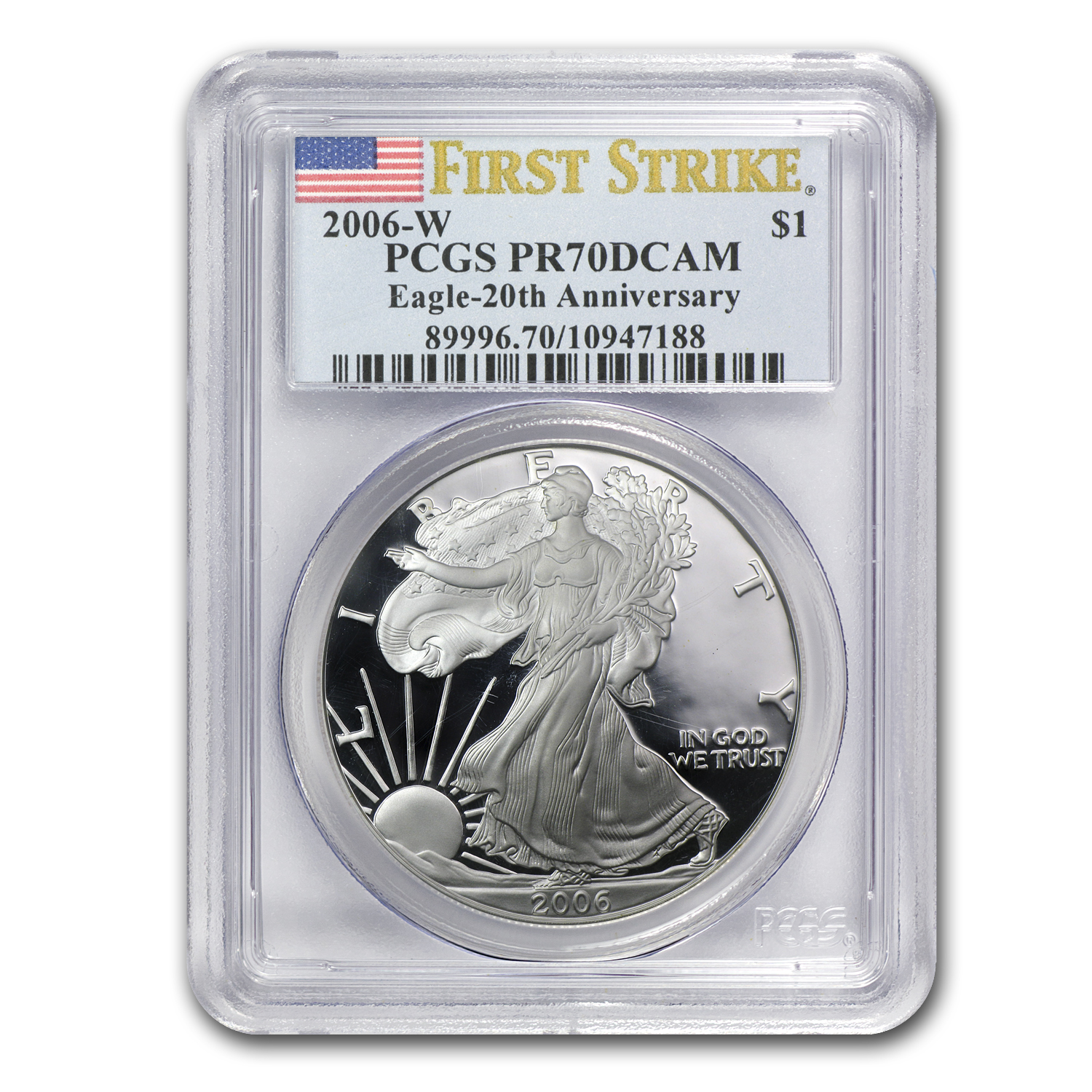 2006-W (Proof) Silver Eagle PR-70 DCAM PCGS 20th Anniv (FS)