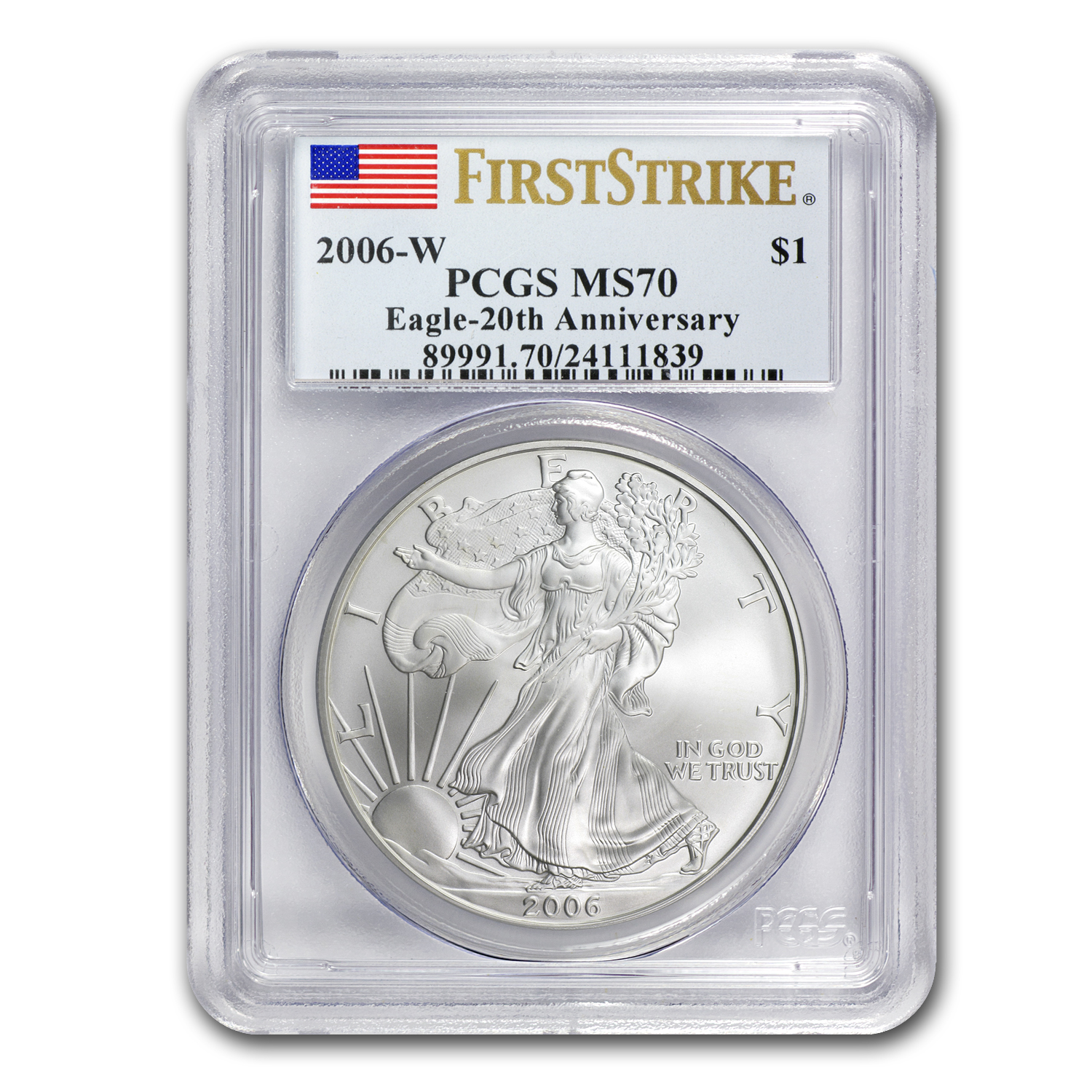2006-W Burnished Silver Eagle MS-70 PCGS (FS, 20th Anniv)
