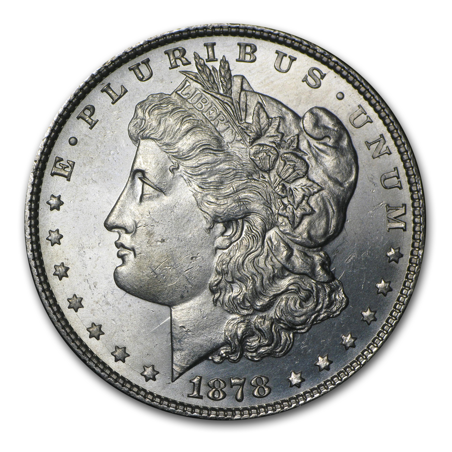 1878 Morgan Dollar 7/8 Tailfeathers BU (Strong)