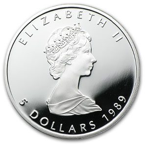 1989 1 oz Proof Silver Canadian Maple Leaf