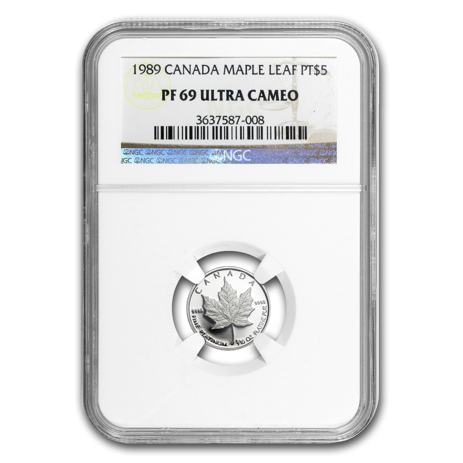 1989 1/10 oz Canadian Platinum Maple Leaf PF-69 NGC