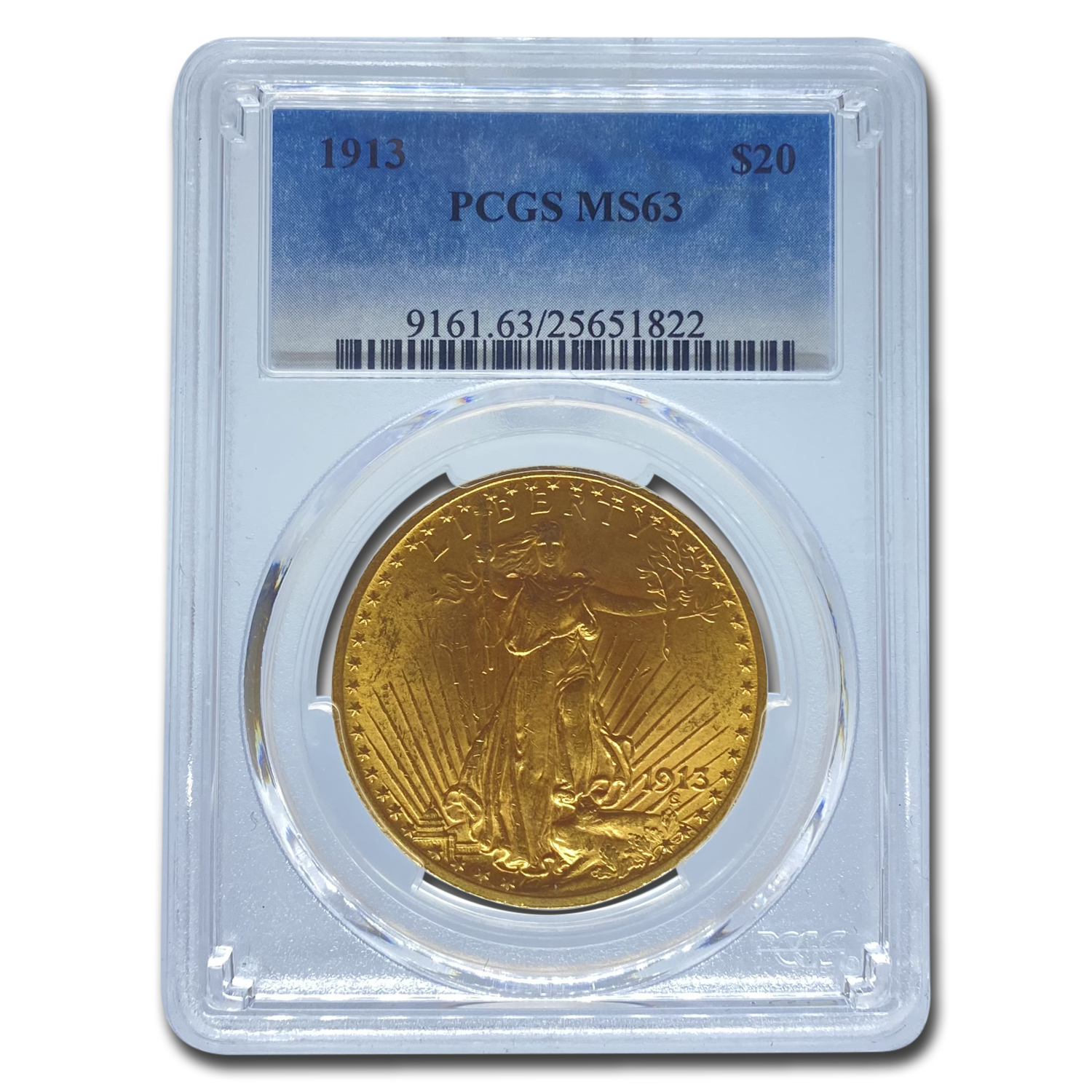 1913 $20 St. Gaudens Gold Double Eagle MS-63 PCGS