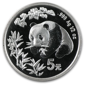 1998 1/2 oz Silver Chinese Panda Hong Kong Expo (Sealed W/COA)