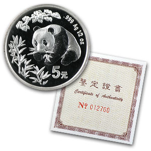 1998 Silver Chinese Panda Hong Kong Expo 1/2 oz (Sealed W/Coa)