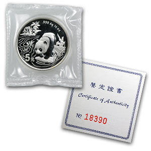 1997 Silver Chinese Panda Hong Kong Expo 1/2 oz (Sealed W/Coa)