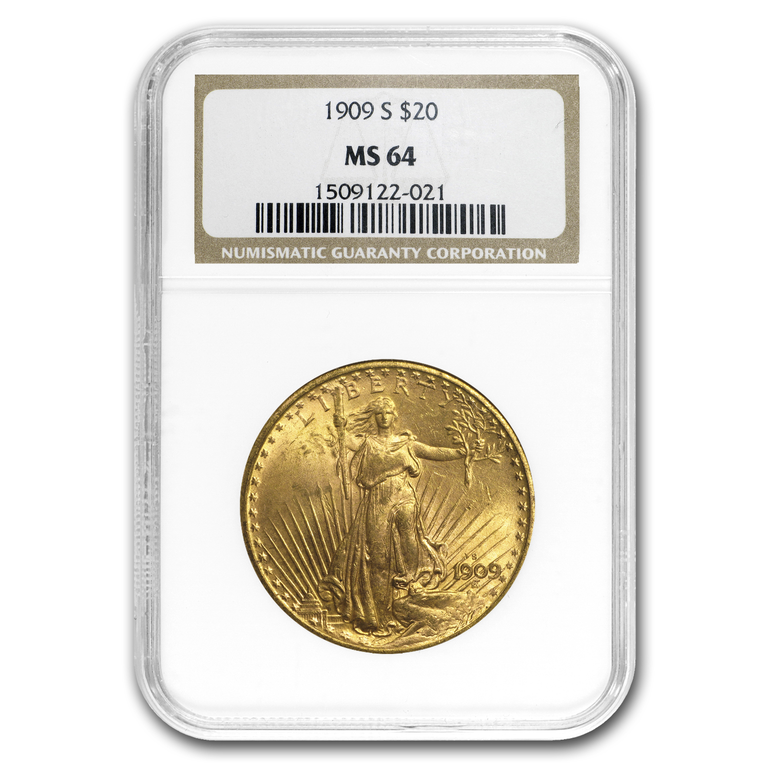 1909-S $20 St. Gaudens Gold Double Eagle MS-64 NGC