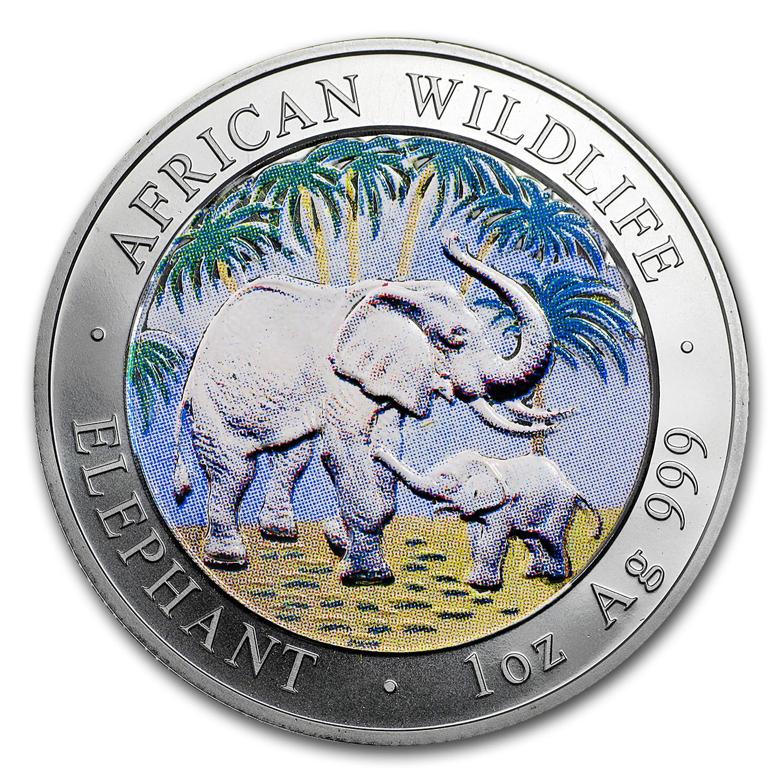 2007 Somalia 1 Oz Silver African Elephant Colorized