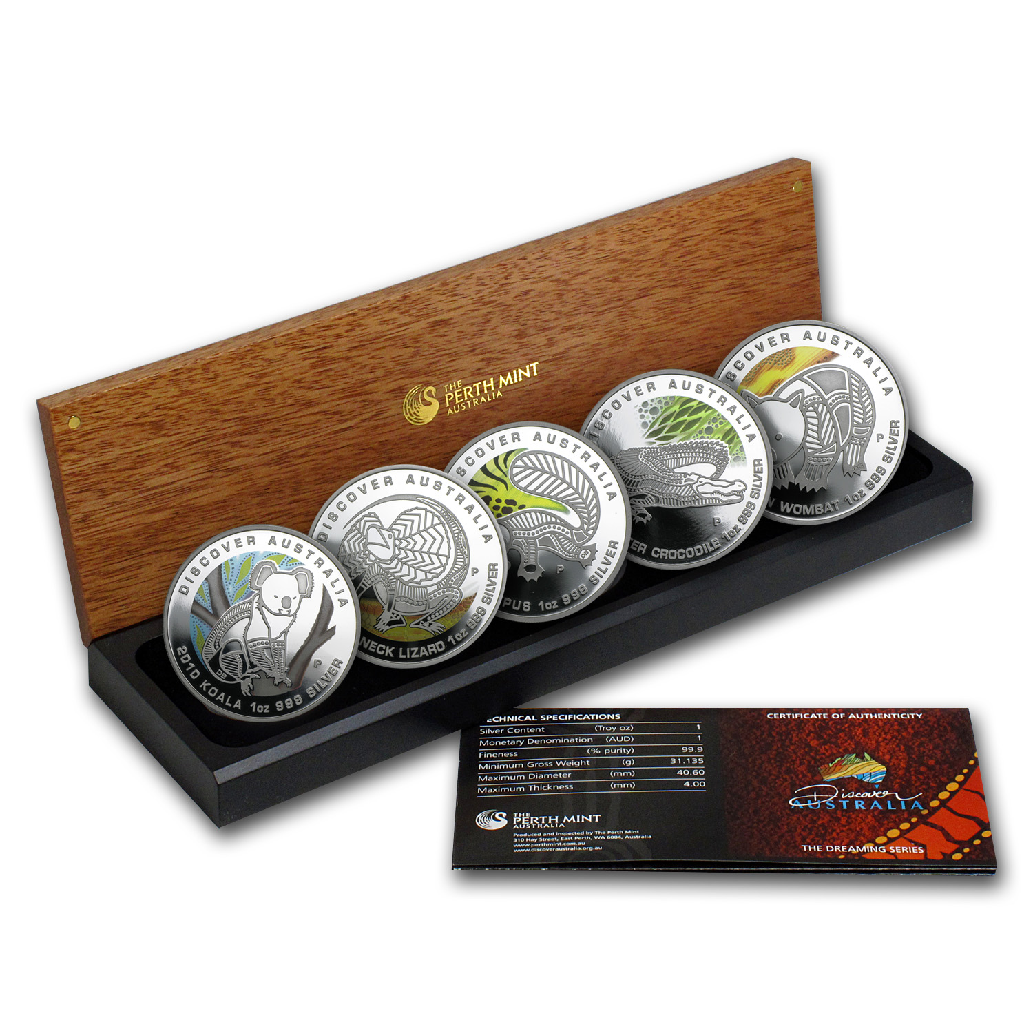 2010 5-Coin 1 oz Silver Discover Australia Dreaming Proof Set