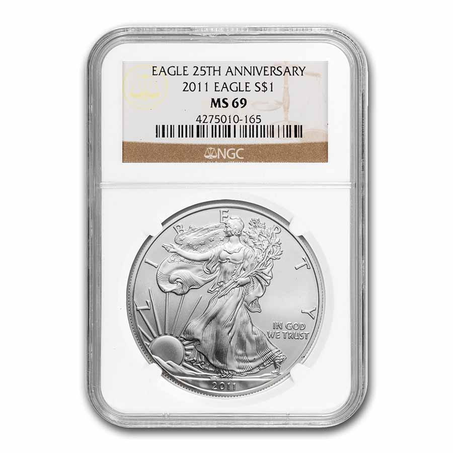 2011 Silver American Eagle MS-69 NGC (25th Anniv)