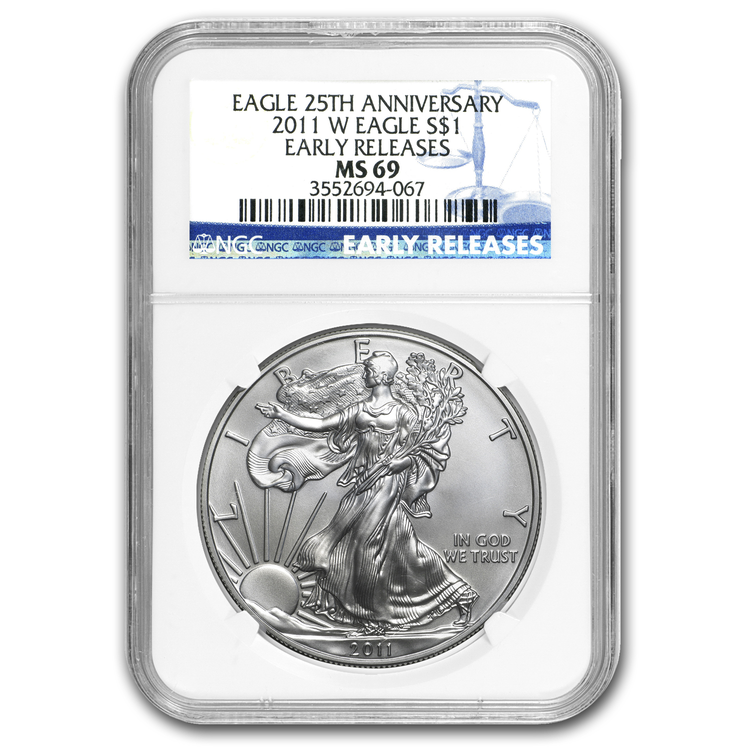 2011 Silver American Eagle MS-69 NGC (25th Anniv, Early Release)