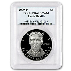 2009-P Louis Braille $1 Silver Commem PR-69 PCGS