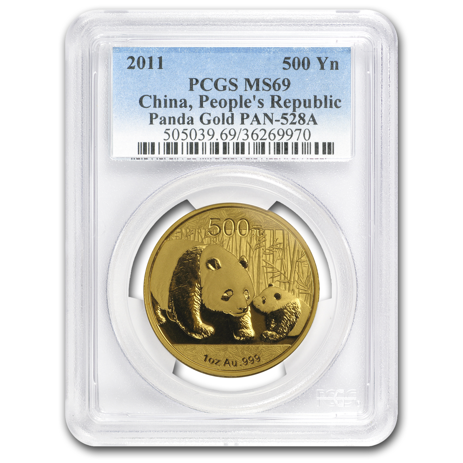 2011 China 1 oz Gold Panda MS-69 PCGS