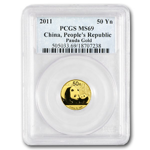 2011 China 1/10 oz Gold Panda MS-69 PCGS