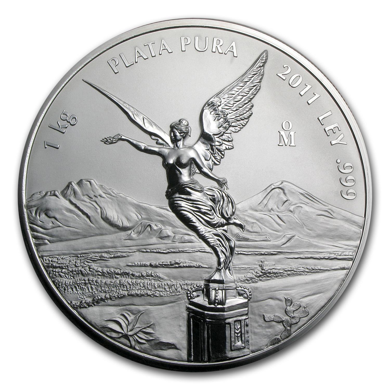 Kilo Silvers: 2011 Mexico 1 Kilo Silver Libertad Proof Like (w/Box & COA