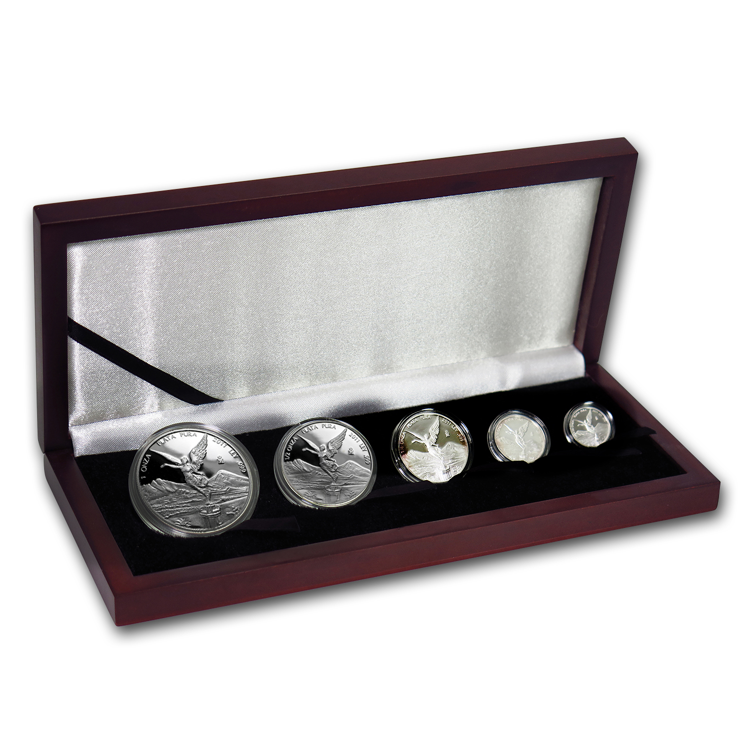 2011 Mexico 5-Coin Silver Libertad Proof Set (1.9 oz, Wood Box)