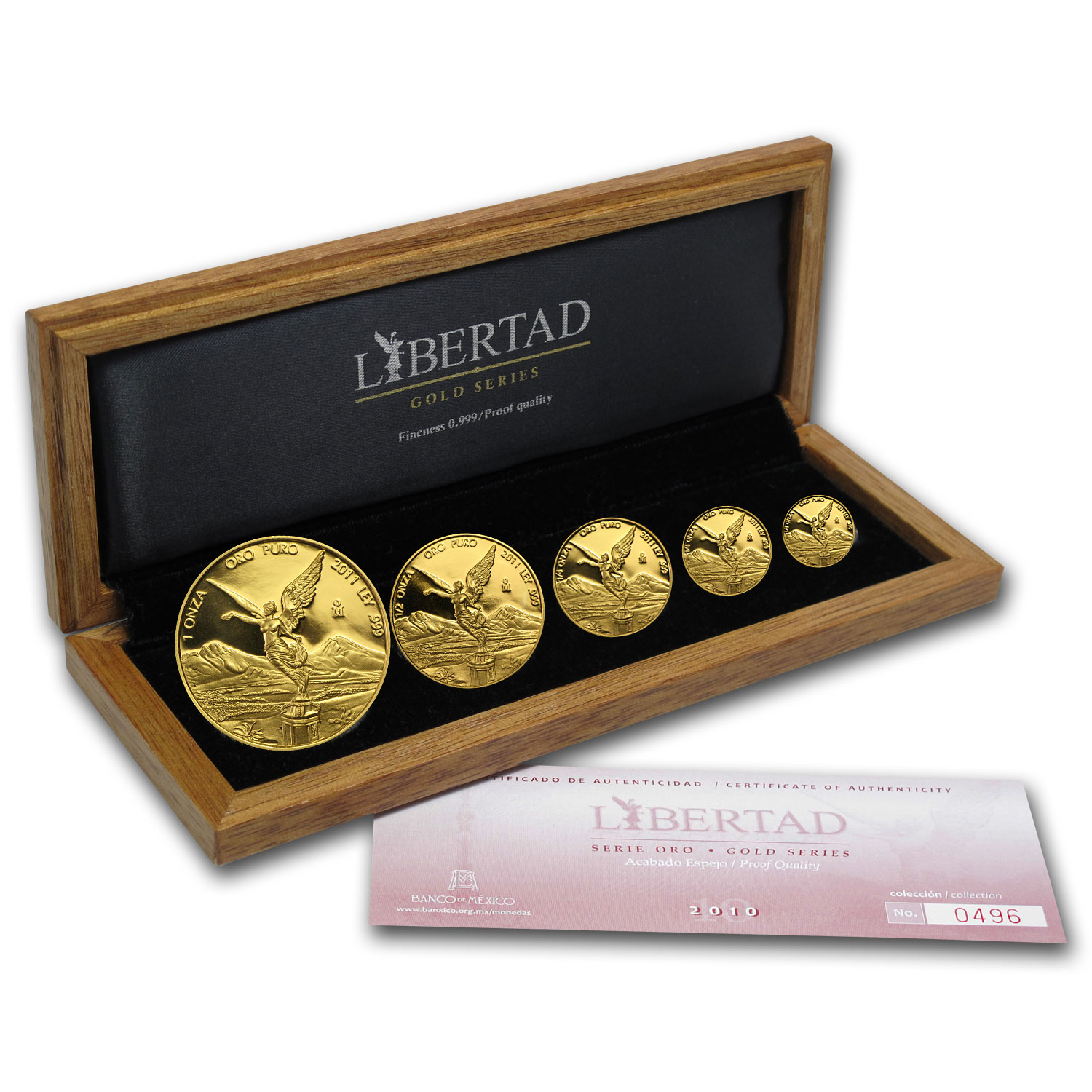2011 Mexico 5-Coin Gold Libertad Proof Set (1.9 oz, Wood Box)