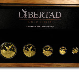 2006 Mexico 5-Coin Gold Libertad Proof Set (1.9 oz, Wood Box)